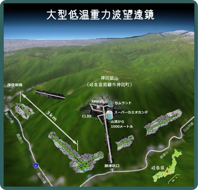 写真・図版 : 神岡鉱山地下の科学施設(東大宇宙線研提供)