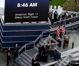 写真・図版 : 9月11日、ニューヨークで開かれた米同時多発テロの追悼式典=ロイター