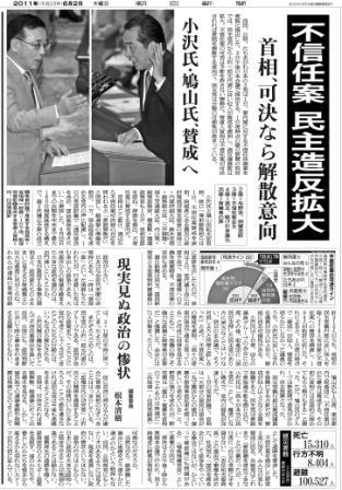 写真・図版 : 紙面3 菅内閣(当時)に対する不信任決議案提出を批判する根本清樹氏のコメントを加えた1面記事=朝日新聞2011年6月2日付朝刊