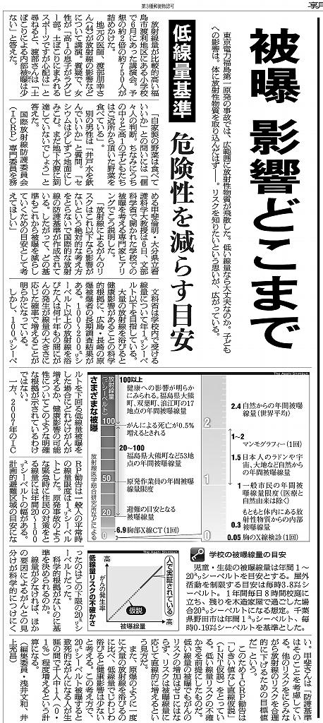 写真・図版 : 紙面1 2011年7月10日付朝日新聞朝刊 低線量被曝の基準をめぐる記事。文科省の専門家ヒアリングでの筆者の「段階的な目標値」の説明も紹介している