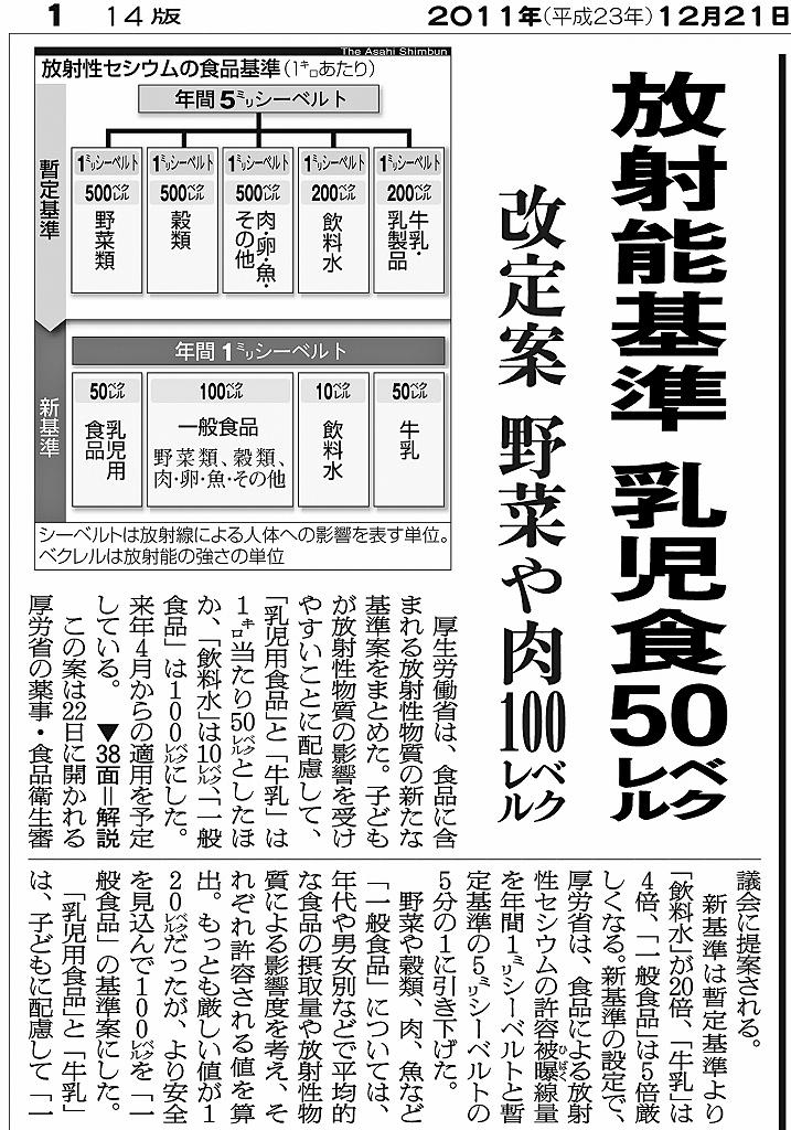 写真・図版 : 紙面3 2011年12月21日付朝日新聞朝刊 厚労省の基準案では、子どもに配慮して乳児用食品と牛乳を一般食品の半分とした。審議会の議論を経て今年4月から適用された