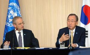 記者会見でで歴史認識問題に触れた潘基文・国連事務総長=2013年8月26日、ソウル