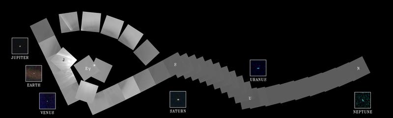 写真・図版 : 1990年にボイジャー1号がとった39枚の組み写真。「太陽系家族写真」と呼ばれる(NASA提供)