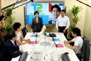 自民党本部に設置されたネット選挙対策の拠点=2013年6月、東京・永田町