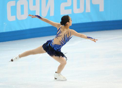 ソチ五輪のフリーでトリプルアクセルの着地を決めた浅田真央