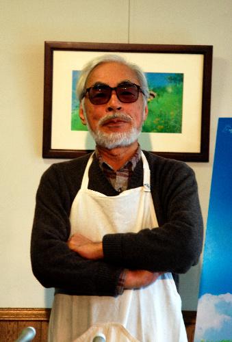 スタジオジブリで会見する宮崎駿監督=2014年3月3日、東京都小金井市