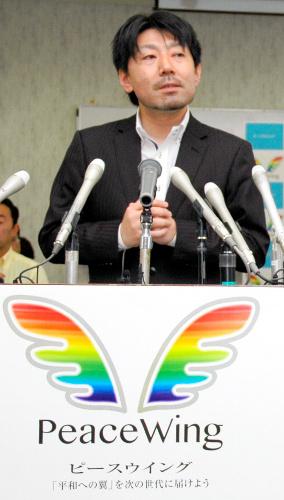 ピースウイングの立ち上げを表明する山中光茂・松阪市長=2014年7月17日松阪市産業振興センター