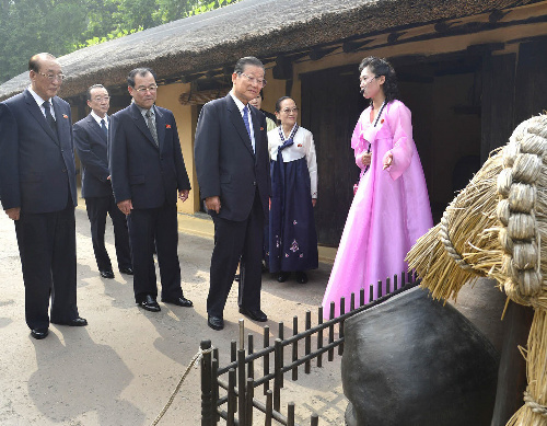 故金日成(キム・イル・ソン)主席の生家がある平壌の万景台を参観する在日本朝鮮人総連合会(朝鮮総連)の許宗萬(ホ・ジョン・マン)議長(左から4人目)ら。朝鮮中央通信が報じた=朝鮮通信