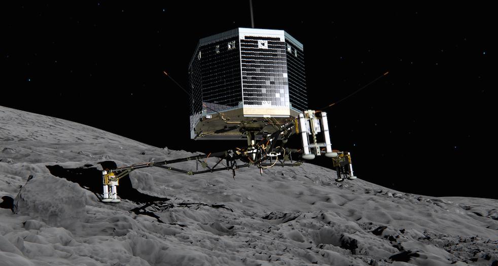 写真・図版 : 画像1:ロゼッタ探査機の着陸機フィラの着陸想像図。欧州宇宙機関(ESA)提供。©ESA/ATG medialab