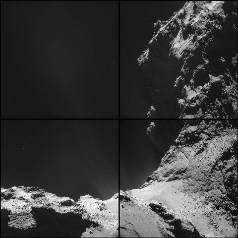 写真・図版 : 画像2:ロゼッタのナビゲーションカメラで8kmの距離から撮影したチュリュモフ・ゲラシメンコ彗星の表面。10月18日撮影。ESA提供。©ESA/Rosetta/NAVCAM