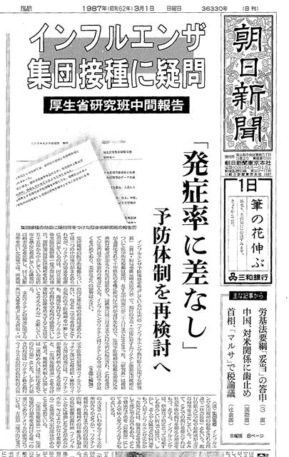 1987年3月1日付朝日新聞の一面の記事