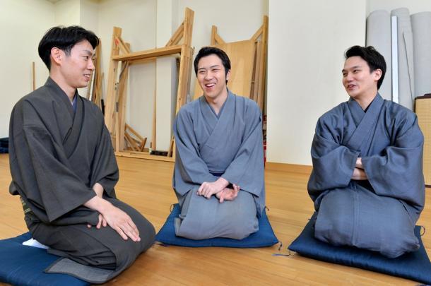 左から)坂東巳之助、尾上松也、中村歌昇=伊ケ崎忍撮影