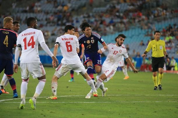 UAE戦の後半36分、柴崎が同点シュートを決める=2015年1月23日