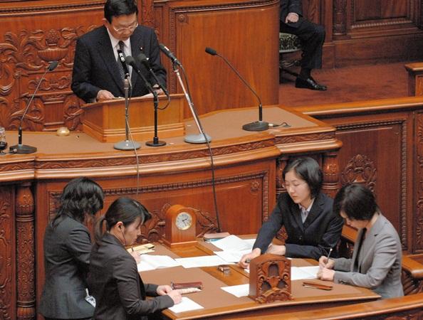 衆院本会議での速記者=2006年4月14日