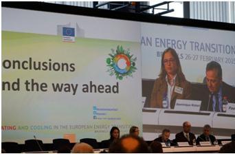 写真・図版 : 2月に行われたEUの「暖房と冷房、ヨーロッパのエネルギー転換」会議。ブリュッセル。