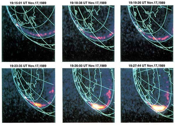 写真・図版 : 「あけぼの」搭載のオーロラ撮像カメラによるオーロラの連続写真(JAXA提供)。最速1分おきの時間分解能(当時世界最高)でオーロラの急激な拡大(サブストーム爆発)を捉えた。