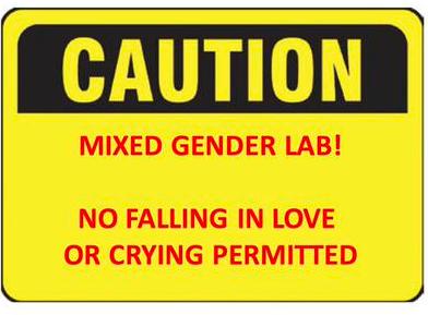 写真・図版 : 「皆さんの実験室で自由に使ってください」とツイッタ―へ投稿された画像。「注意 男女混合実験室! 恋愛及び泣くこと厳禁」