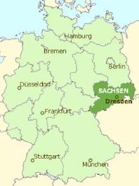 写真・図版 : 図1:ドイツ地図とドレスデン(ザクセン州の州都)