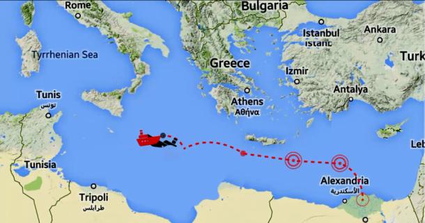 2014年9月にエジプトアレクサンドリアを出港し、地中海で沈没した密航船の航路(出典:欧州地中海人権モニターの報告書から