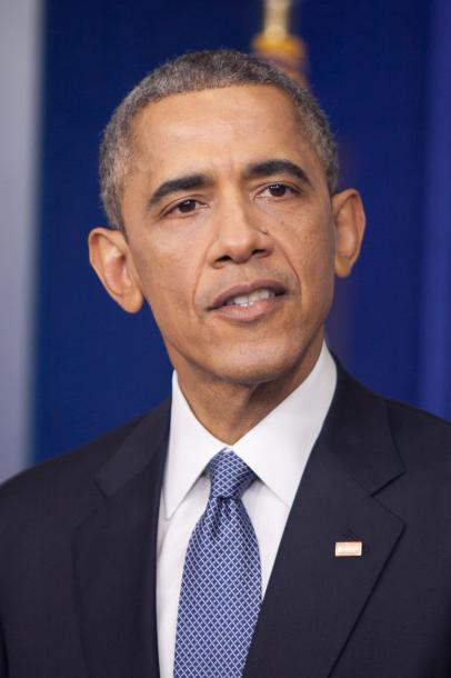 会見するオバマ大統領=2014年12月、ワシントン、ランハム裕子撮影