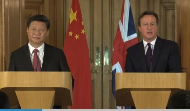 中国の習国家主席と英キャメロン首相との記者会見(英首相官邸のサイトより)