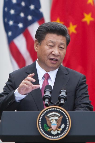 ホワイトハウス共同会見での習近平国家主席=2015年9月、ワシントン、ランハム裕子撮影
