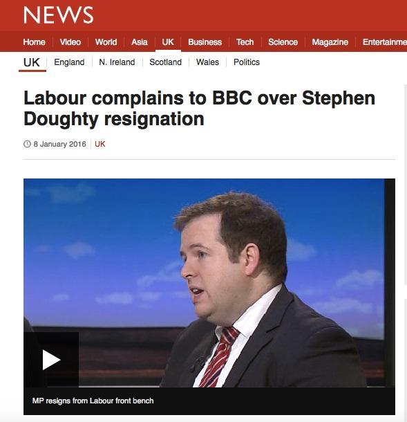 BBCの報道に労働党が苦情の手紙を出した(BBCニュースのサイトより)