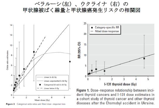 写真・図版 : ベラルーシはZablotska LB, et al. Br J Cancer 2011;104:181 ウクライナはBrenner AV, et al. Environ Health Perspect 2011;119:933.