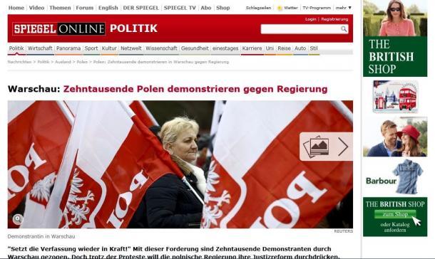 3月12日に1万人の市民が参加してワルシャワで行われた、政府に対する抗議デモを伝えるドイツのニュース週刊誌「シュピーゲル」電子版の画面