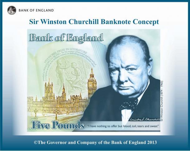 チャーチル元首相の新5ポンド紙幣のイメージ=イングランド銀行提供
