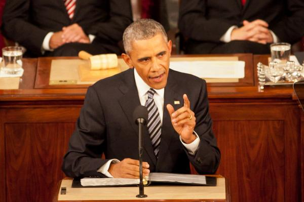 一般教書演説をするオバマ大統領=2016年1月、ワシントン、ランハム裕子撮影