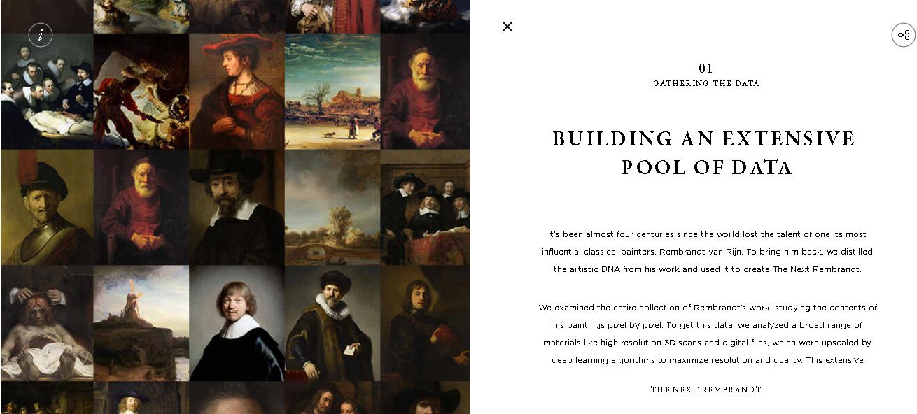 写真・図版 : The Next Rembrant のサイトから。プロジェクトの第一段階は、レンブラントの絵の特徴収集だった。