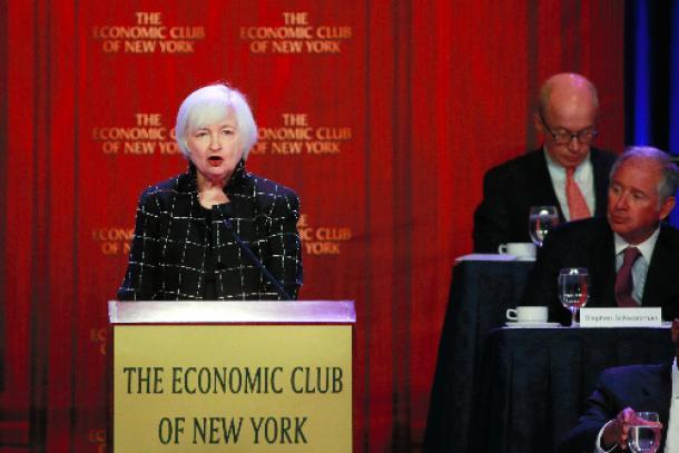 ニューヨークで講演するFRBのイエレン議長
