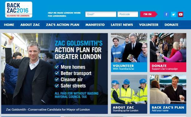 写真・図版 : ザック・ゴールドスミスのロンドン市長選用ウェブサイト