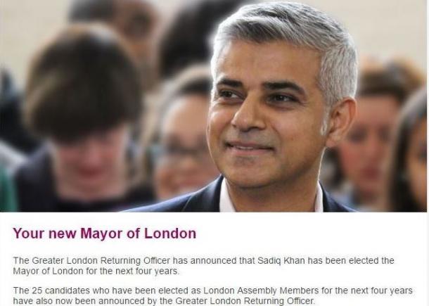新ロンドン市長サディク・カーン(ロンドン市長とロンドン市議のサイトから)
