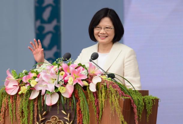 台北で20日、就任演説に臨む台湾の蔡英文総統=熊谷俊之氏撮影
