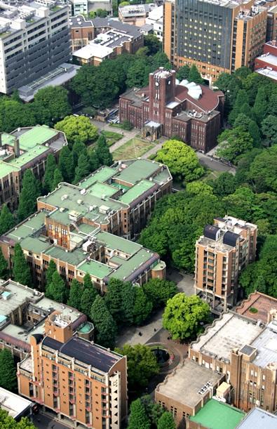 安田講堂を中心とした東大キャンパス=2006年、東京都文京区本郷