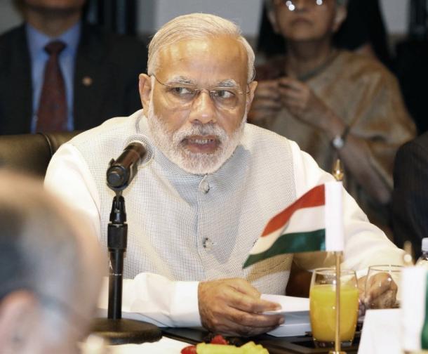 4カ国首脳会合で、あいさつするインドのモディ首相=2015年9月、米ニューヨーク、代表撮影