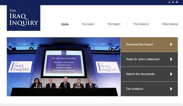チルコット委員会のウェブサイト