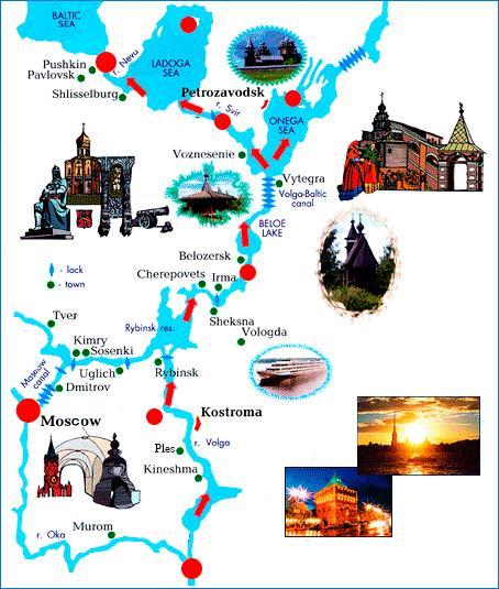写真・図版 : 今回のクルーズの航路地図。矢印のように北上。一番下の赤が出発地、ニジニ・ノヴゴロド(モスクワから東400km)。日曜朝出航、土曜日の朝、終点サンクト・ペテルブルグに着岸した。