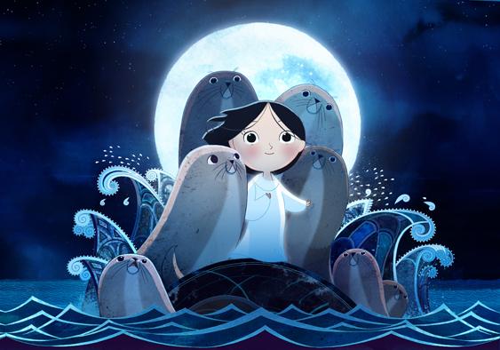 『ソング・オブ・ザ・シー 海のうた』メインヴィジュアル。月光を浴びて立つシアーシャとアザラシたち