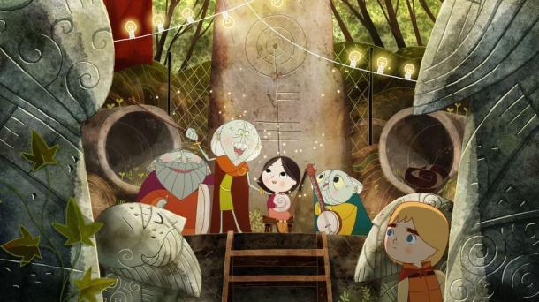 妖精3人組ディーナシーとシアーシャ、隠れて見ているベン。特徴的な真正面の重層的レイアウト。石像と木立のコントラストが美しい