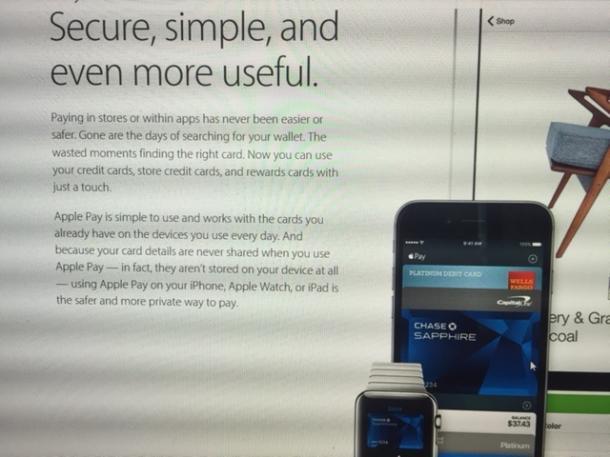 写真・図版 : 安全で簡単、使い勝手がよいと宣伝するApplePay(同社HPより)