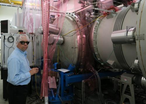 LIGOの観測装置の一部(米ルイジアナ州、小林哲撮影)