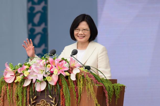 就任演説に臨む台湾の蔡英文総統=熊谷俊之氏撮影