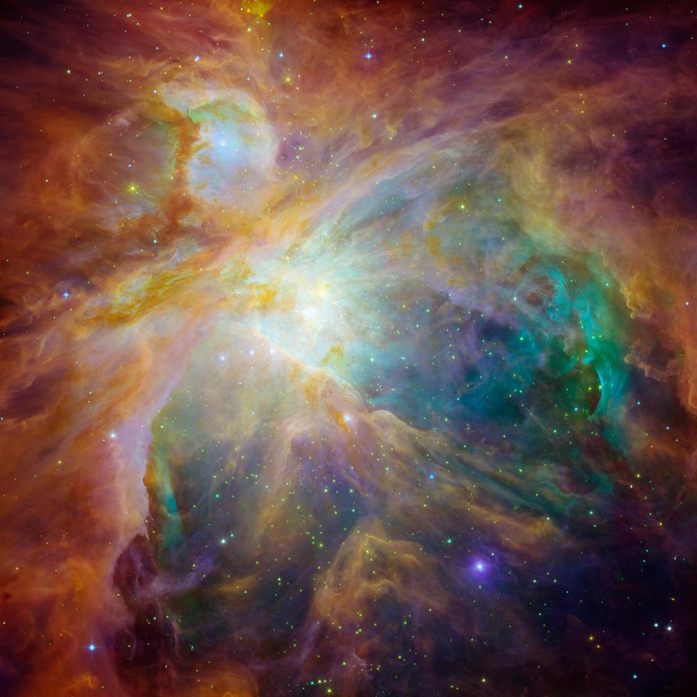 写真・図版 : オリオン大星雲でも、大量のちりとガスが集まり、数千もの星が形成されつつある=NASA提供