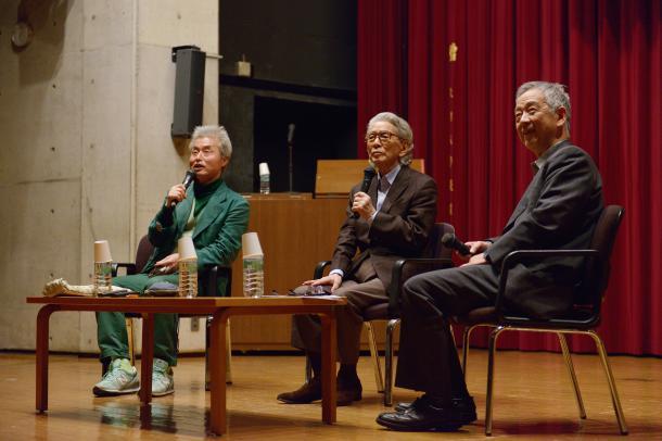 写真・図版 : 鎌田東二さん(左)、五木寛之さん(真ん中)、島薗進さん(右)