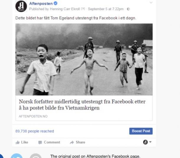 アフテンポステン紙のフェイスブックサイトに掲載された、「戦争の恐怖」の写真をめぐる記事リンク(ウェブサイトより)
