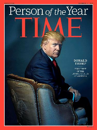 タイム誌の表紙を飾ったトランプ米次期大統領。タイム誌提供=ロイター