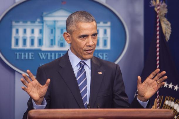 ホワイトハウスで今年最後の会見をするオバマ大統領=2016年12月16日、ワシントン、ランハム裕子撮影